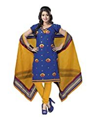 PShopee Blue & Yellow Jacquard Cotton Embroidery Unstitched Dress Material