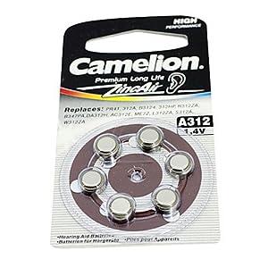 Amazon Com Buw 6pcs Camelion 1 4v A312 Hearing Aid Zinc Air Batteries Silver Electronics