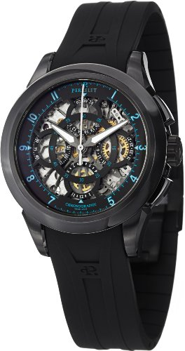 Perrelet Skeleton Chronograph DLC 43.5mm Watch - Black/Blue Dial, Black Rubber Strap A1057/2