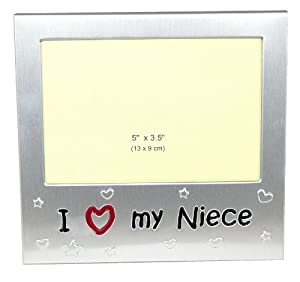 "I Love My Niece ' - Expressions Photo Picture Frame Gift - 5 x 3.5 "" - Brushed Aluminium Satin Silver Color"