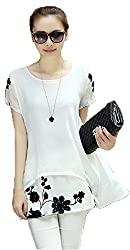 Dress({Choice Fashion_White_Large_Embroidery_Georgette_Women's Dress})