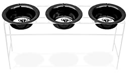 Platinum Pets White Triple Modern Diner Stand with 4 Cup Stainless Steel Dog Bowls in Black Chrome