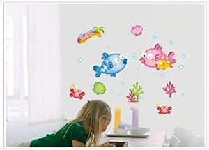 ufengke® Peces y Cangrejos Encantadoras Mundo Submarino Pegatinas de Pared, Vivero Habitación de los Niños Cuarto de Baño Removible Etiquetas de la pared / Murales en BebeHogar.com