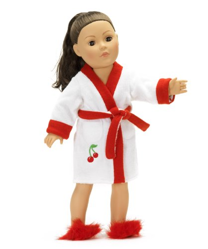 18 Inch Doll Robe | Cherry Bathrobe Fits American Girl | Includes Red Fuzzy Slippers