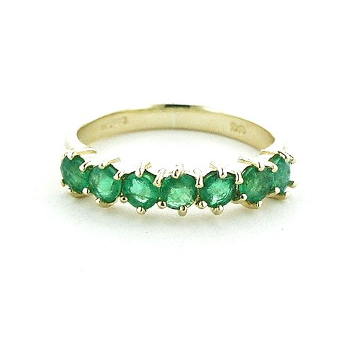 9ct Yellow Gold Ladies Emerald Eternity Ring - Size N - Free Delivery - Finger Sizes L to Z Available