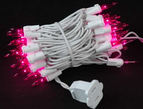 Novelty Lights 50 Light Pink Christmas Mini Light Set, White Wire, 11' Long (Pink String Lights)