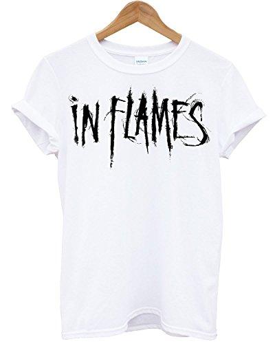 T-shirt Uomo In Flames - Maglietta 100% cotone LaMAGLIERIA,L , Bianco