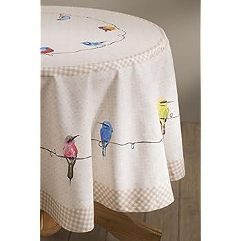 Maison d Hermine Birdies On Wire 100% Cotton Tablecloth 69 Inch Round