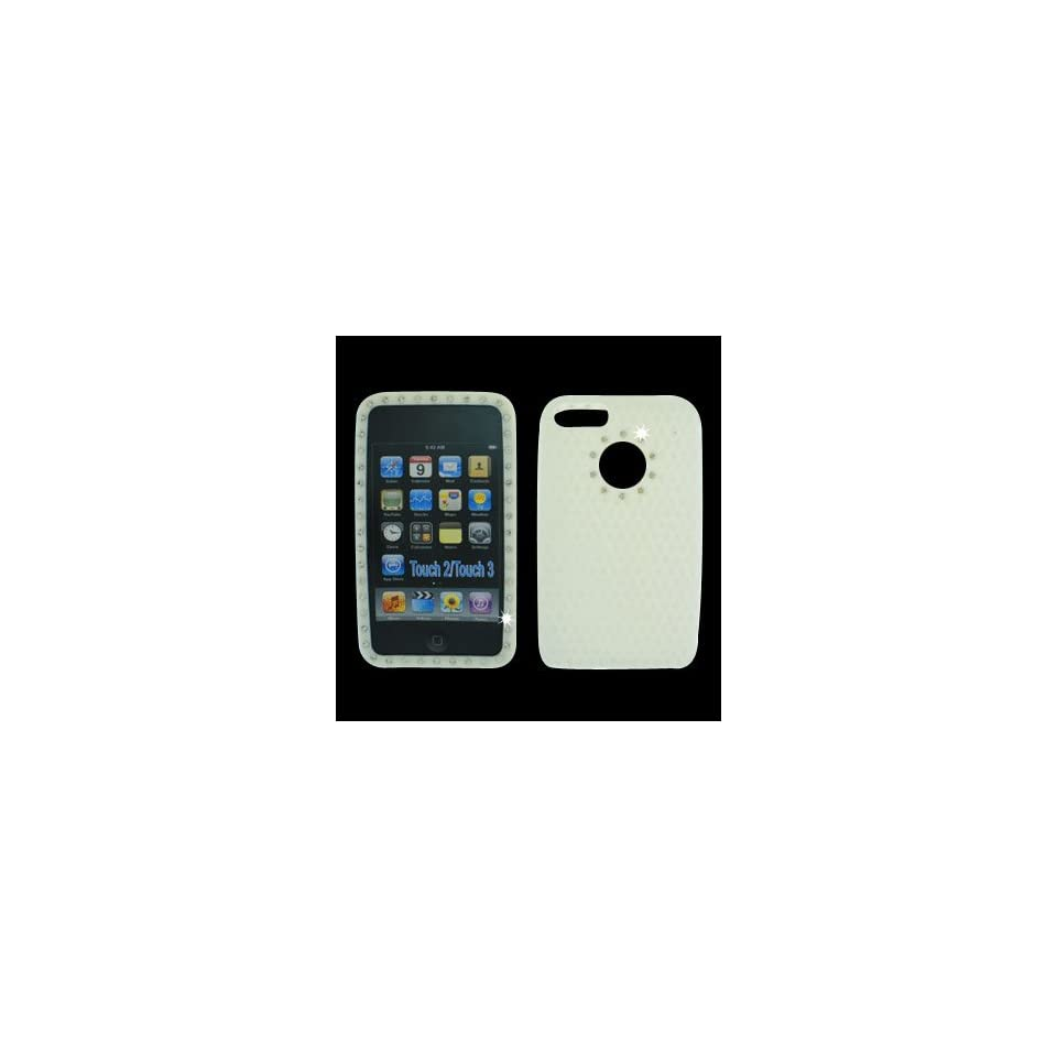 Premium White with Diamond Rhinestone Soft Silicone Skin Gel Cover Case for Apple Ipod Touch Itouch 2nd Gen 3rd Gen