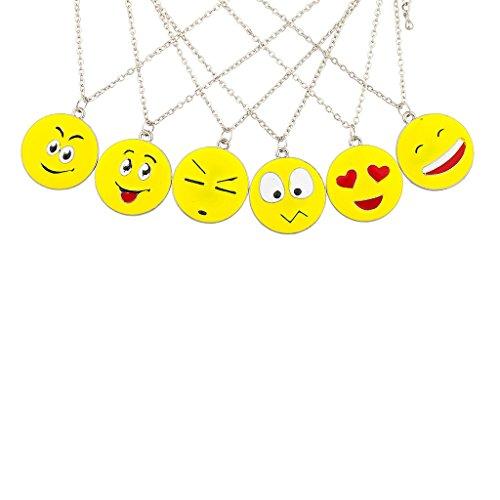 dc8d0051b Lux Accessories 6 PC Emoji Emoticon Happy Love Smile Slick BFF Best Friends  Multiple Necklace Set