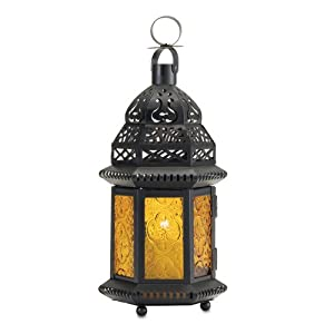 Gifts Decor Yellow Glass Moroccan Lantern Candle Holder Lig
