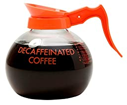 Wilbur Curtis Commercial Coffee Decanter - Impact Resistant - Orange Handle & White Imprint Logo - 64 Ounce DECAF Coffee Decanter - (Each)