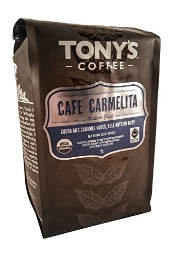 Buttery Caramel Flavored Coffee - Cafe Carmelita Medium Roast by Tonys Coffee - 12 oz. - Organic and Fair Trade Certified (Whole Bean) (Gmo Free Coffee Beans compare prices)