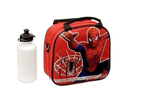 New Marvel Spider-man Lunch Box Bag with Shoulder Strap and Water Bottle!! Red - 1