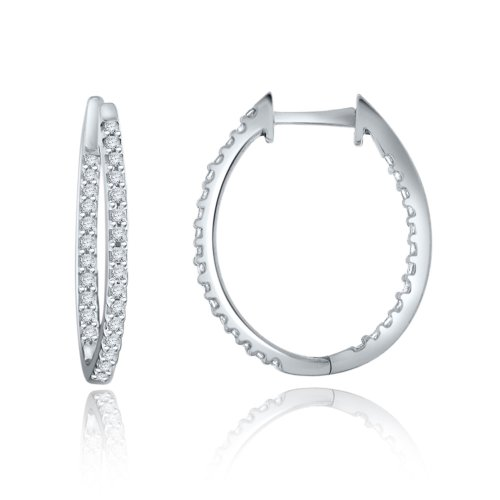 Sterling Silver Simulated Diamond in & Out Hoop Earrings-0.75ct