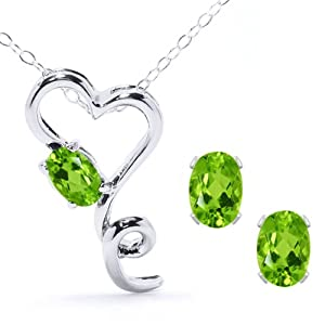 2.12 Ct Natural Green Peridot 925 Sterling Silver Heart Pendant Earrings Set 18""