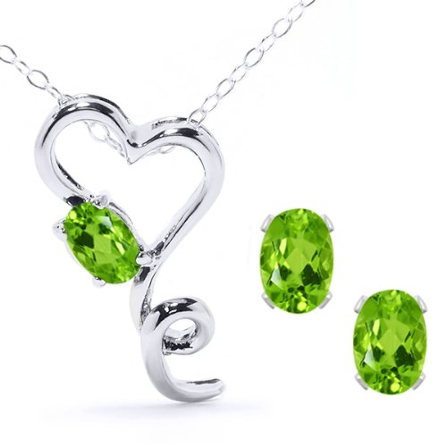 2.12 Ct Natural Green Peridot 925 Sterling Silver Heart Pendant Earrings Set 18