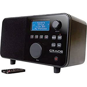 Grace Digital Wi-Fi Internet Radio Featuring 10 Station Presets & 99 Station File Bank, Featuring on Demand Contact Pandora, NPR On-Demand, SiriusXM Internet Radio and iHeartRadio, Includes a Clock & Alarm, Black