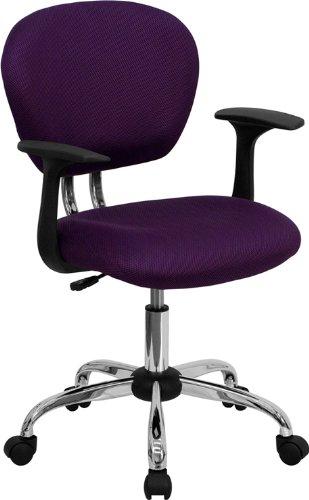 Flash Furniture H-2376-F-PUR-ARMS-GG Mid-Back Purple Mesh Ta