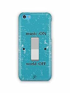 YuBingo Music on, World Off Designer Mobile Case Back Cover for Apple iPhone 5C