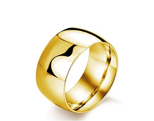 Simple Titanium Steel Gold Wide Rings For Men 11.5MM