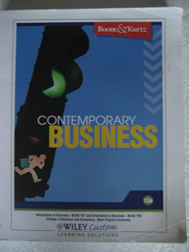 contemporary business (introduction to business busa 101 and orientation to business fusa 199, college of business and e