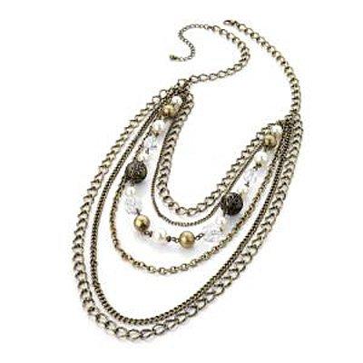 Antique Bronze Multi Strand Bead Chain Necklace - 70cm Length