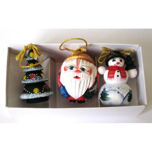 Christmas Ornaments * Santa * Christmas tree * Snow Man * 7 cm *3 in box * Russian Hand made, Wood carved * Hand painted * orn.111.ily