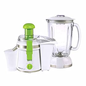 Nesco American Harvest JB-50 2-in-1 Juicer/Blender, White with Green Trim