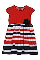 Chalk by Pantaloons Girl's Skater Dress ( 205000005606723, Red, 3-4 Years)