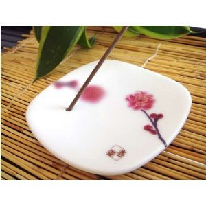 Japanese Ceramic Incense Plate - Pink Plum