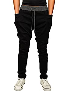 HEMOON Mens Jogging Pants Tracksuit Bottoms Training Running Trousers Black L
