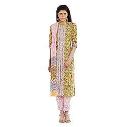Pinkshink Pure Cotton Yellow Salwar Kameez Dress Material Fabric 112
