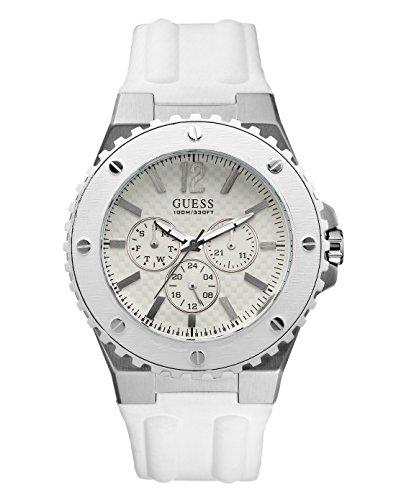 Guess W10603G1 - Reloj analógico de cuarzo para hombre con correa de caucho, color blanco