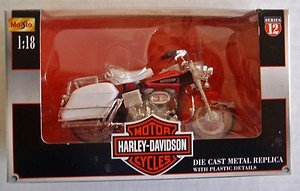 Harley-Davidson Die Cast Metal Replica with Plastic Details ~ 1958 FLH Duo- Glide