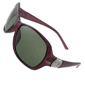 Woman Lady Magenta Full Rim Green Lens Polarized Sunglasses