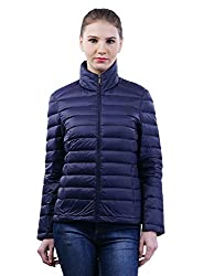 FINEQLO Women's Synthetic Quilted Jacket_Navy Blue_M