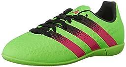 adidas Performance Ace 16.3 IN J Soccer Shoe (Little Kid/Big Kid),Green/Shock Pink/Black,3.5 M US Big Kid