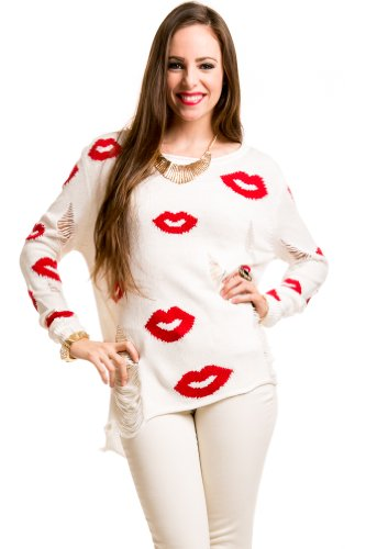 Deconstructed Knit Kisses Sweater in Ivory