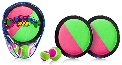 Premium-Toss-Catch-3000-Ball-Game-By-YoYa-Toys-Durable-Pink-Green-Velcro-Disc-Paddles-2-Balls-Big-Small-For-Outdoor-Summer-Fun-Parties-Kids-Adults-Family-Comes-In-A-PVC-Carry-Bag