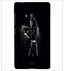PrintDhaba Beauty with Weapon D-2440 Back Case Cover for MICROSOFT LUMIA 540 (Multi-Coloured)