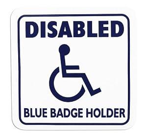 Disabled Cling Sign - Square: Disabled Blue Badge Holder