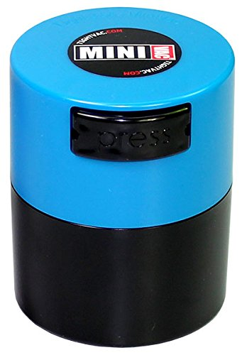 Minivac TV1-SLB - 10g to 30 gram Vacuum Sealed Container Lt. Blue Cap & Black Body (Vacuum Sealed Weed Container compare prices)