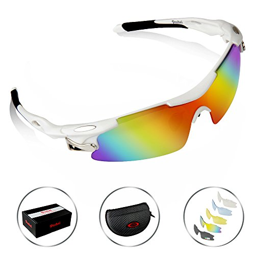 POSHEI P04 Polarized UV Protection Sports Glasses for Men or Women , Cycling Wrap Sunglasses with 5 Interchangeable Lenses Unbreakable , for Riding Driving Fishing Running Golf and Outdoor Activities (White&Black)