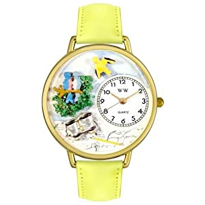 Bird Watching Yellow Leather And Goldtone Watch