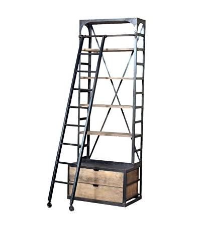 CDI Furniture Industrial Bibliotheque with Small Hutch & Ladder, Brown