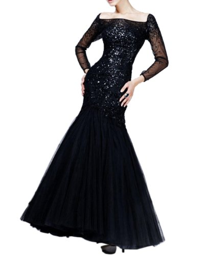 IBEAUTY DRESS Lace Black Long Sleeve Sequin Maxi Evening Dress E7686 WZ844 US 12