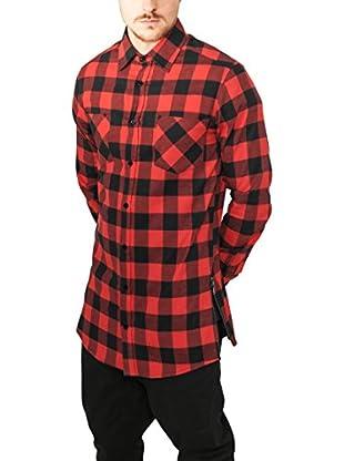 Urban Classics Camisa Hombre (Negro / Rojo)
