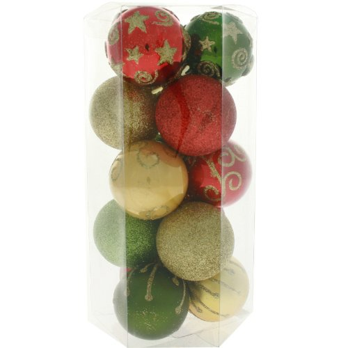 15 Piece Red, Gold and Green Deluxe Christmas Tree Bauble Pack
