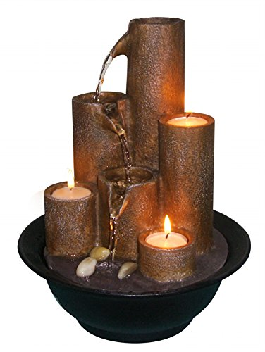 Alpine WCT202 Tiered Column Tabletop Fountain with 3-Candles (Mini Waterfall compare prices)